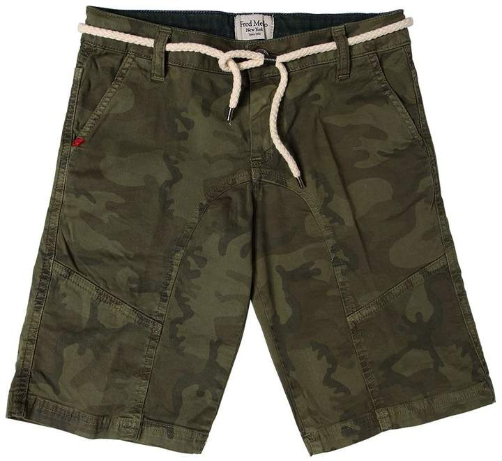 Camo Stretch Cotton Gabardine Shorts