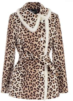 Blumarine Boxy Leopard Print Jacket