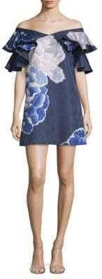Josie Natori Peony Jacquard Ruffle Dress