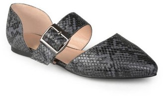 Co Brinley Womens Pointed Toe Buckle Faux Leather Flats
