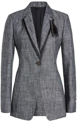 Brunello Cucinelli Tweed Blazer with Silk, Linen and Feathers