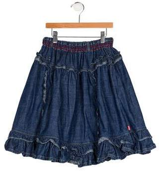 Oilily Girls' Ruffled Denim Skirt