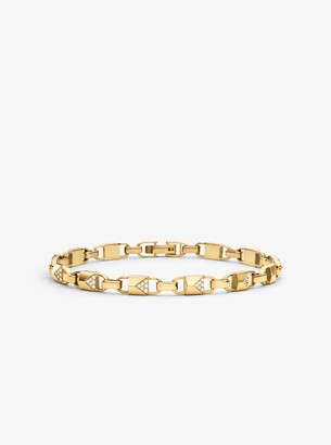 Michael Kors Precious Metal-Plated Sterling Silver Pave Mercer Link Bracelet