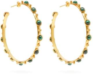 Sylvia Toledano - Candy Malachite Embellished Hoop Earrings - Womens - Green