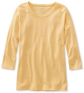 L.L. Bean L.L.Bean Pima Cotton Shaped Tee, Three-Quarter-Sleeve Jewelneck
