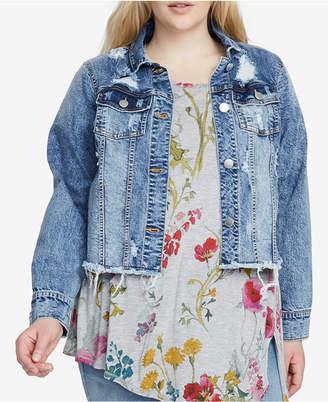 Rachel Roy Trendy Plus Size Distressed Denim Jacket