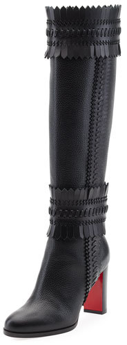 Christian Louboutin  Christian Louboutin Pocabotta Red Sole Fringe Knee Boot, Black