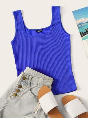 Shein Neon Blue Rib-knit Tank Top