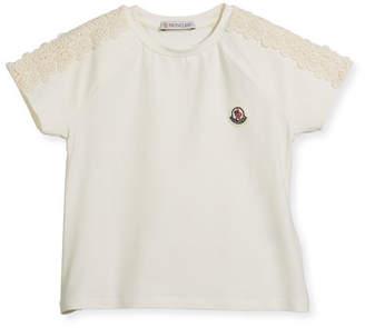 Moncler Maglia Short-Sleeve T-Shirt w/ Lace Trim, Size 8-14