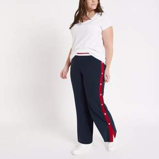 River Island Womens Plus navy color block popper side joggers