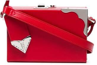 Calvin Klein red mini leather box clutch