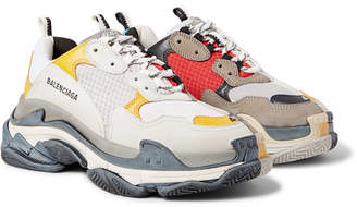 Balenciaga Triple S Split Mesh, Nubuck And Leather Sneakers - Men - Multi