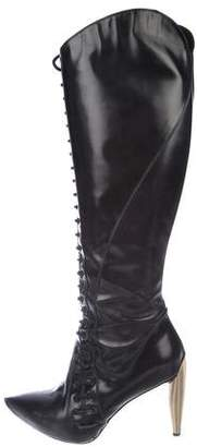 Alexander McQueen Lace-Up Knee-High Boots