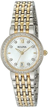 Bulova Women's Quartz Stainless Steel Casual Watch, Color:Two Tone (Model: 98R211) $450 thestylecure.com