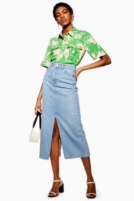 Topshop Blue Split Front Denim Midi Skirt