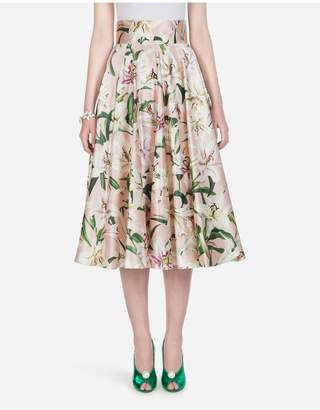 Dolce & Gabbana Lily-Print Shantung Midi Skirt