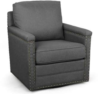 Baxton Studio Ashley Modern and Contemporary Classic Retro Gray Fabric Upholstered Swivel Armchair with Bronze Nailhead Trim