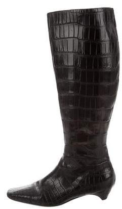 Christian Dior Embossed Leather Knee-High Boots