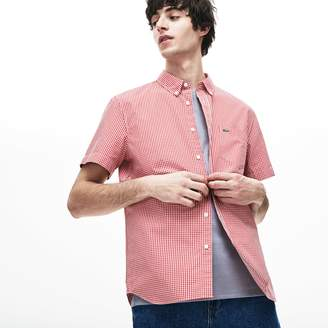 feb1257d Lacoste Men's Regular Fit Mini Check Poplin Shirt