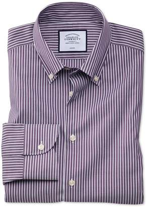 Charles Tyrwhitt Slim Fit Business Casual Non-Iron Button-Down Purple and White Stripe Cotton Formal Shirt Single Cuff Size 14.5/33