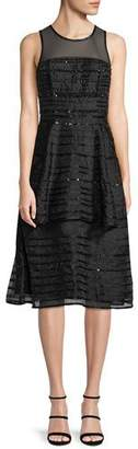 Parker Black Avril Sleeveless Sequin-Stripe Tiered Midi Cocktail Dress