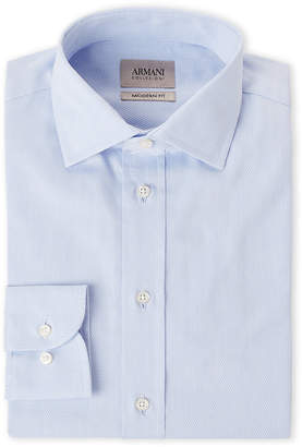 Armani Collezioni Light Blue Geo Modern Fit Dress Shirt