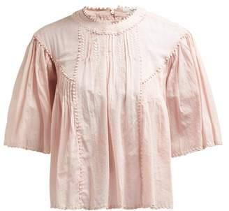 Etoile Isabel Marant Algar Embroidered Cotton Top - Womens - Light Pink