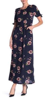 Velvet Torch Floral Tie Sleeve Maxi Dress