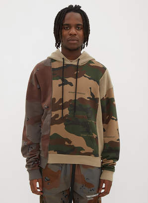 Off-White Off White Hooded Reconstructed Camo Print Sweater in Khaki