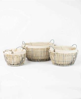 Kalalou Round Grey Willow Baskets w/Cotton Lining, Set of 3