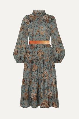 Anna Mason - Clara Tiered Velvet-trimmed Floral-print Wool Midi Dress - Green