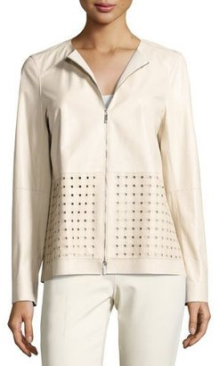 Lafayette 148 New York Bari Perforated Leather Jacket, Oyster $1,198 thestylecure.com