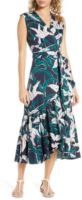 Tory Burch Print Cover-Up Wrap Midi Dress