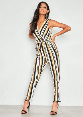 Missy Empire Missyempire Sage Orange Stripe Wrap Jumpsuit