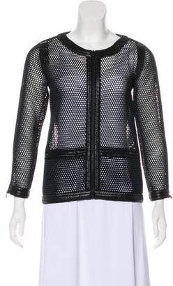 Chanel Perforated Zip-Up Jacket