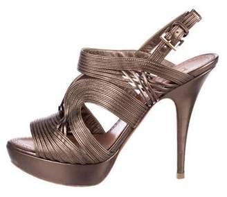 Alaia Metallic Leather Sandals