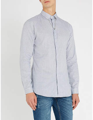 The Kooples Pendant-detail striped slim-fit cotton shirt