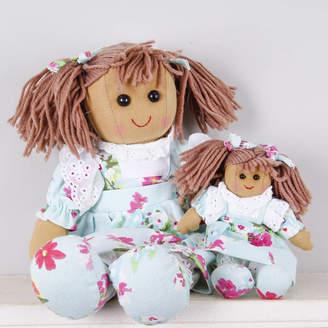Little Ella James Set Of Two Sister Blue Floral Rag Dolls
