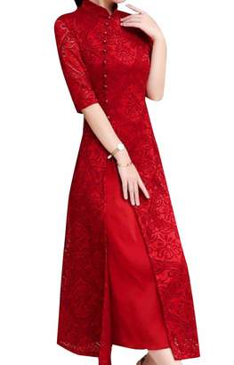 b975edfc1175 Zimase Women Chinese Style Oversized Lace Crochet Long Maxi Dress XXL
