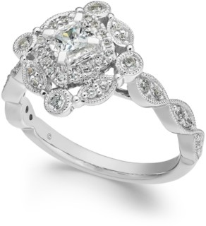 Macy's Diamond Vintage-Inspired Halo Ring (1/2 ct. t.w.) in 14k White Gold