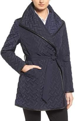Cole Haan Water Resistant Quilted Wrap Coat