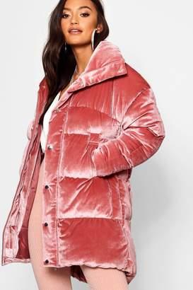 boohoo Petite Velvet Padded Coat