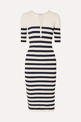 Altuzarra Sunday Striped Ribbed Stretch-knit Midi Dress - Navy