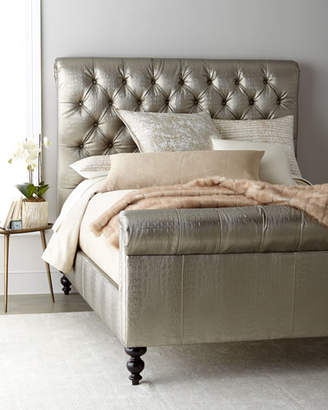 Old Hickory Tannery Jesse Faux-Leather Tufted King Bed