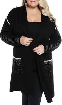 Belldini Plus Hooded Embellished Duster Cardigan