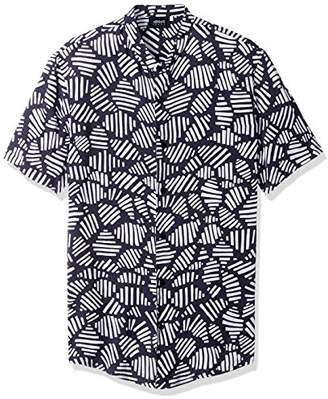 Armani Jeans Men's Slim Fit Printed Short Sleeve Button Down Shirt