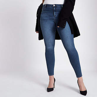 River Island Plus dark blue Molly jeggings