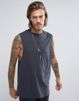 Asos Longline Sleeveless T-Shirt With Dropped Armhole And Metal Chain Armhole Trim