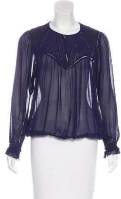 Isabel Marant Smocked Silk Blouse