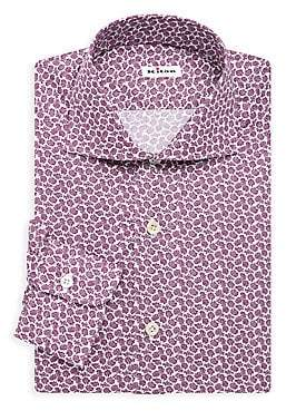 Kiton Men's Contemporary-Fit Mini Flower Print Dress Shirt
